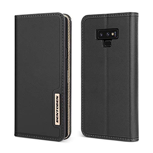 BENTOBEN Genuine Leather Wallet Case for Galaxy Note 9, Heavy Duty Rugged Protective Phone Case Cover with Flip Kickstand Credit Card Slot Cash Holder for Samsung Galaxy Note 9, Black