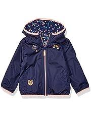 Osh Kosh Girls' Toddler Reversible Midweight Jacket, Indigo Dot Print with Pink pop