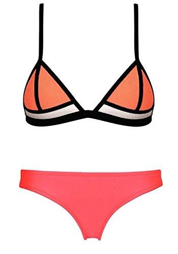 FeelinGirl Women's Color Block Diving Suit Bikini Set Beachwear Size S Rose Red
