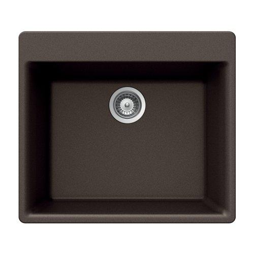 Houzer GEMO N-100 MOCHA Gemo Series Topmount Granite Single Bowl Kitchen Sink, Mocha