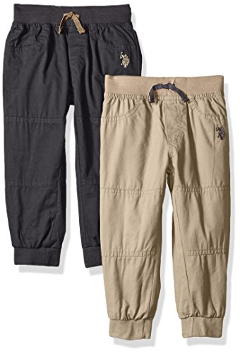 U.S. Polo Assn. Boys' Toddler 2 Pack Fleece Pant, Charcoal, 4T