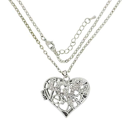 (The Olivia Collection TOC Silvertone Rhinestone 'Love' Puffed Heart Locket Necklace 20