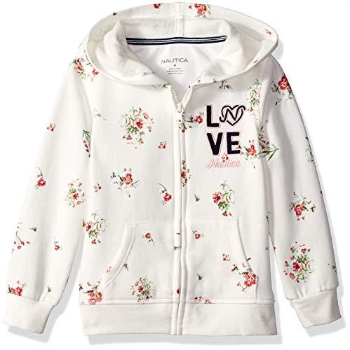 (Nautica Girls' Little Long Sleeve Hoody, Cream Florals 5)