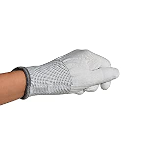 Ehdis Nylon White Working Gloves Stretchy Full Finger Labor Gloves Anti Static Non-slip Gloves for Washing, Car Cleaning, Household Cleaning Keeper