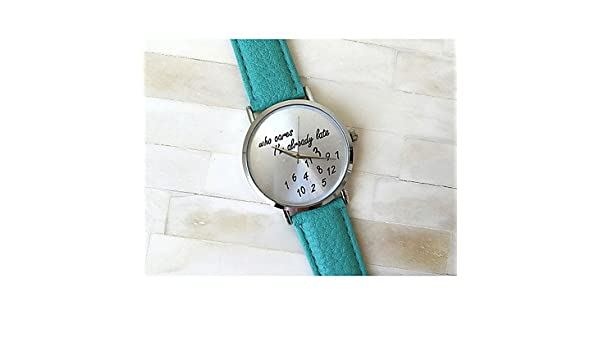 Amazon.com: Fashion Watches 3 Colors Who Cares Im Late Anyway Watch Leather Strap Women Watch Quartz Watch Relojes Mujer (Color : Green , Gender : For ...