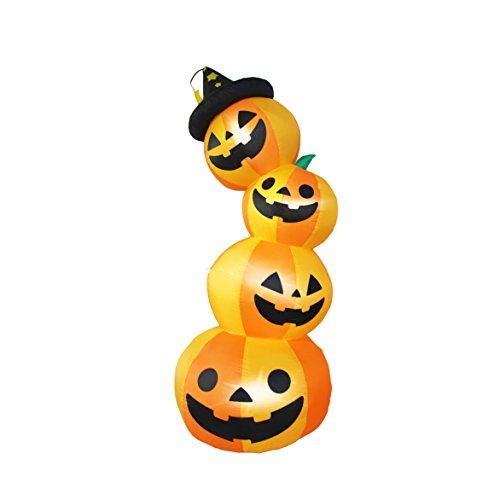 SEASONBLOW 8 Ft Halloween Inflatable 4 Pumpkin Stack Decoration Jack-o-Lantern Inflatables for Indoor Outdoor Home Yard -