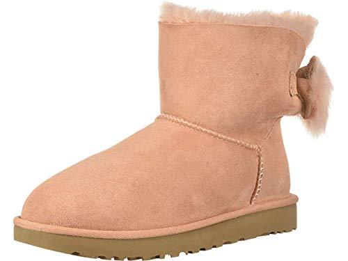UGG Women's W Fluff Bow Mini Fashion Boot, Suntan, 8 M US (Uggs Boots Women Size 8)
