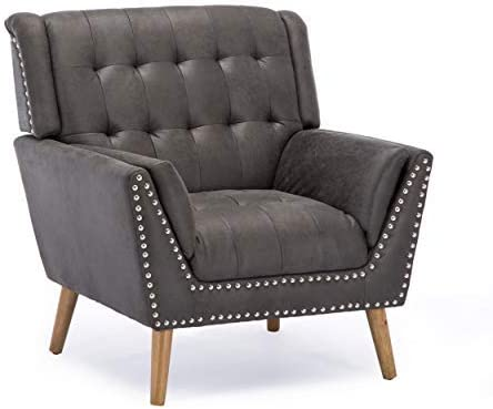 Christopher Knight Home Xanthe Contemporary Microfiber Club Chair with Nail Head Accents, Slate, Gray, Dark Brown