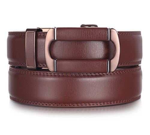 Mio Marino Ratchet Belts for Men - Genuine Leather Dress Belt - Automatic Buckle (Open Oval Buckle W Brown Leather, Adjustable from 38
