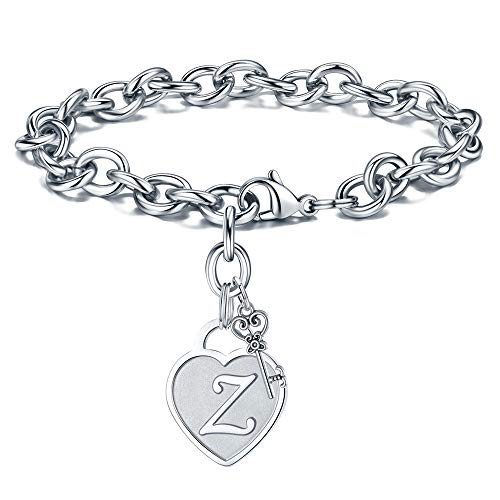 Charm Bracelet For Teen Girls Initial - Engraved Letter Z Initial Bracelet Stainless Steel Hand Stamped Womens Tiny Heart Letter Link Charm Bracelet Adjustable Birthday Jewelry Gifts for Her Women
