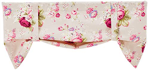 Valance Tie Up Lined - Ellis Curtain Sanctuary Rose 50-by-21 Inch Lined Tie-Up Valance, Linen