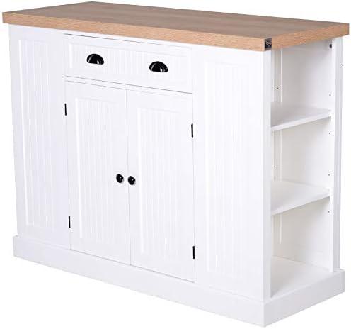 HOMCOM Fluted-Style Wooden Kitchen Island Storage Cabinet