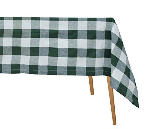 Green Buffalo Check Tablecloth - Gingham Tablecloths Fabric - Teal Plaid Tablecloth - Linen Cotton Table Cloths Rectangular - Cotton Checked Tablecloth 63 X 126 (Green & Cream)