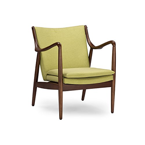 Baxton Studio Wholesale Interiors Shakespeare Mid-Century Modern Retro Fabric Upholstered Leisure Accent Chair in Walnut Wood Frame, Large, Green (Walnut Chair Accent)