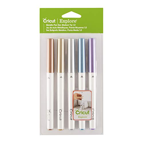 Cricut 2002951 Pen Set Med Point Mtlc, 5 Pack, Metallic