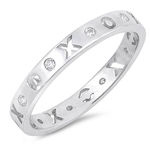 CHOOSE YOUR COLOR Sterling Silver CZ XO Eternity Ring (Size 4 - 10) - 8 by JewelryBadger (Image #2)