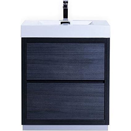 Bliss 30 Gray Oak Floor Mount Modern Bathroom Vanity Amazoncom