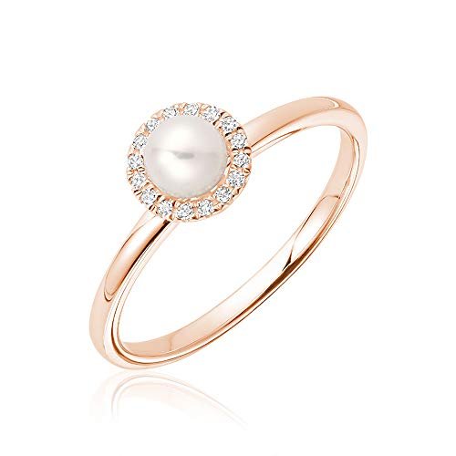 (Jewels By Erika R-10PL10 10K Gold Pearl & Diamond Ring Size 6.5)