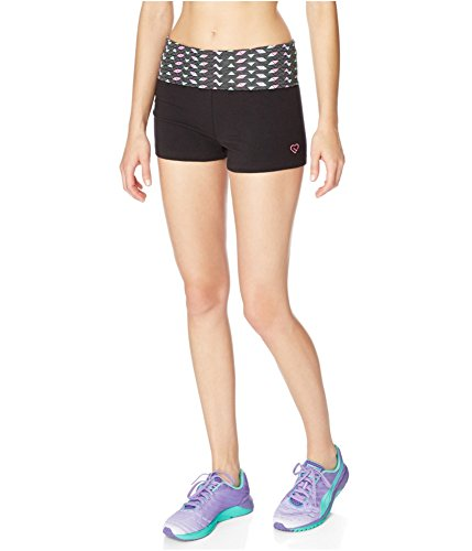 Aeropostale Womens Geo Yoga Athletic Workout Shorts, Black, X-Small (Aeropostale Workout Clothes)