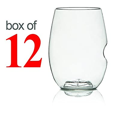 GoVino Wine Glass Flexible Shatterproof Recyclable- 16 Oz, Set of 12