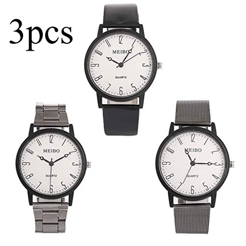 - Quartz Wristwatch, Gallity Luxurious 3PCS Combination Mesh Belt Steel Strip Leather Belt Magnetic Buckle Round Watch Precision Scale Watches