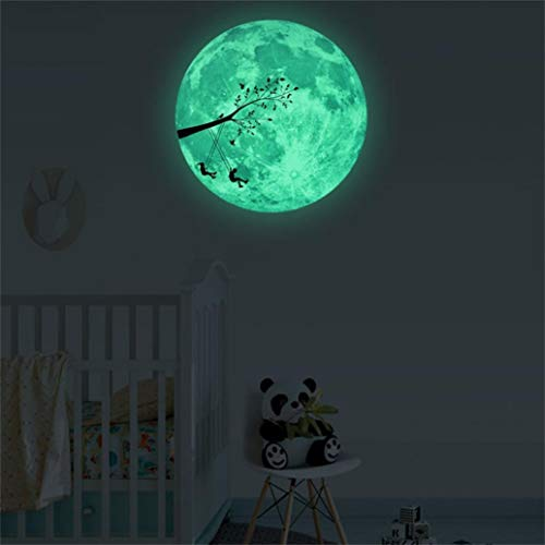 (Alelife 3D Large Moon Fluorescent Wall Sticker Removable Glow in The Dark Sticker Home Decor Wallpaper (A))
