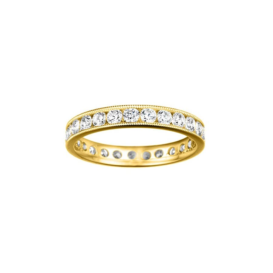 TwoBirch Sterling Silver Channel Set Round Eternity Band Milgrained Edges set Diamonds G H I2 I3 (0.45 ct. twt.)