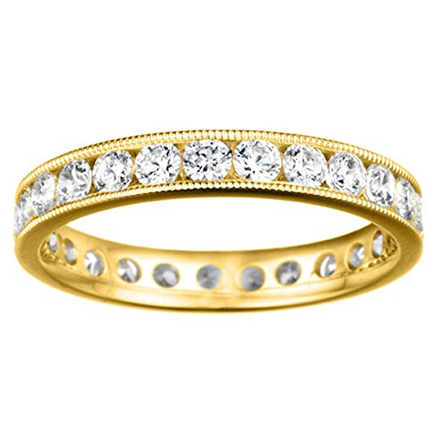 Sterling Silver Channel Set Round Eternity Band Milgrained Edges set Diamonds G H I2 I3 (0.45 ct. twt.)