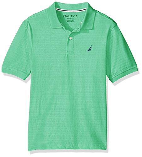 Nautica Boys' Short Sleeve Tonal Stripe Deck Polo Shirt, SPEARMINT, Medium (10/12)