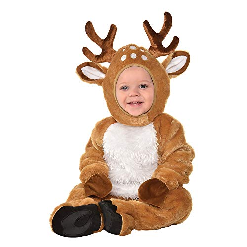 Suit Yourself Cozy Deer Costume for Babies, Size 6-12 Months, Includes a Soft Jumpsuit, Booties, a Tail, and a Hood -