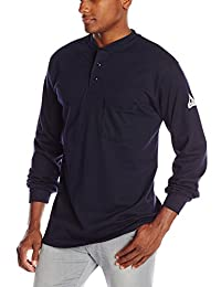Bulwark Flame Resistant 6.25 oz Cotton Long Sleeve Tagless Henley Shirt, Navy, Large