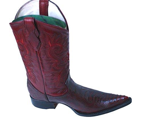 Dona Michi Cowboy Genuine Leather Ostrich Leg Print Cowboy Handmade Luxury Boots_Burgundy_10 Ostrich Print Leather Shoes