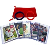 Dustin Pedroia Baseball Cards (5) ASSORTED Boston Red Sox Trading Card and Wristbands Gift Bundle