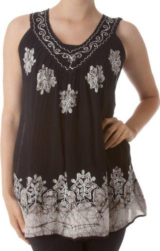 Sakkas C097 Batik Embroidered V-Neck Sleeveless Blouse- Black / White - One Size (Black Embroidered Blouse)