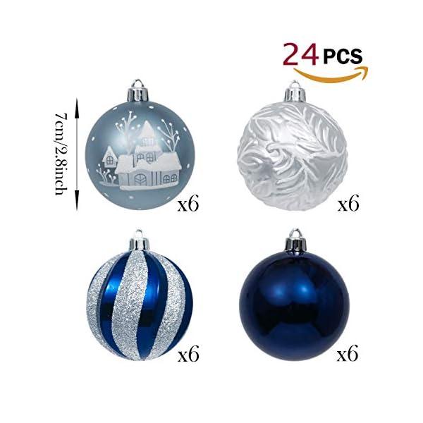 Valery Madelyn Palle di Natale 24 Pezzi 7cm Palline di Natale, Auguri Invernali Argento e Blu Infrangibili Ornamenti Palla di Natale Decorazione per la Decorazione Dell'Albero di Natale 3 spesavip