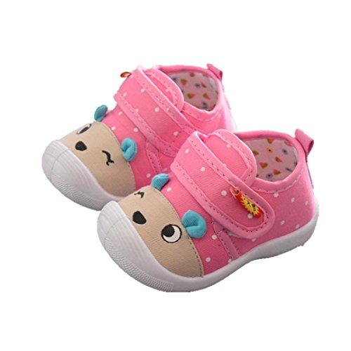 IGEMY Infant Kinder Baby Jungen Mädchen Tier Stil Cartoon Print Anti-Rutsch-Schuhe weiche Sohle Quietschende Sneakers Rosa