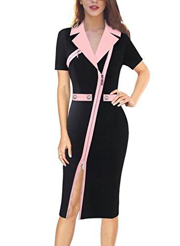 VFSHOW Womens Lapel Asymmetric Zip Buttons Wear to Work Office Sheath Dress 731 PIK S