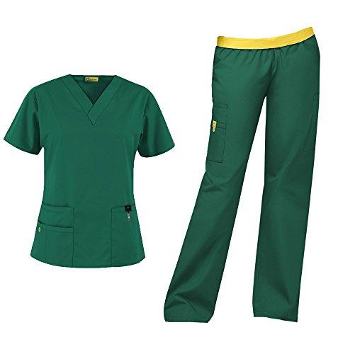 Scrubs Lab Green - WonderWink Origins Women's Medical Uniforms Scrubs Set Bundle- 6016 Bravo V-Neck Scrub Top & 5016 Quebec Elastic Cargo Scrub Pants & MS Badge Reel (Hunter Green - X-Large/Large Tall)