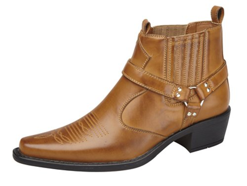 Men's US BRASS EASTWOOD Ankle Harness/Gusset Cuban Heel Cowboy Boots Tan VzSzo