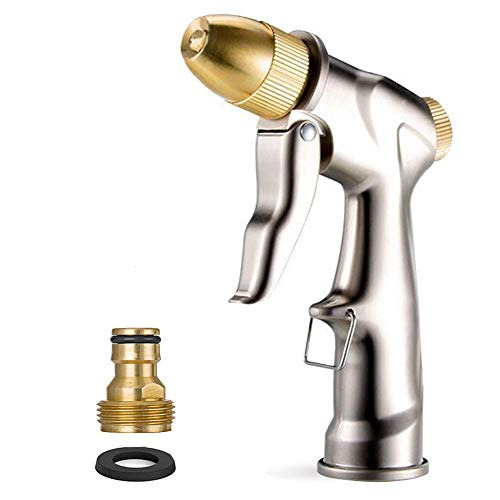 (HOMY Garden Hose Nozzle Sprayer Gun, Zinc Alloy Gun Body & Full Brass Nozzle, Leak Proof Metal Hand Sprayer, High Pressure Pistol Grip Sprayer in 4 Spraying Modes)