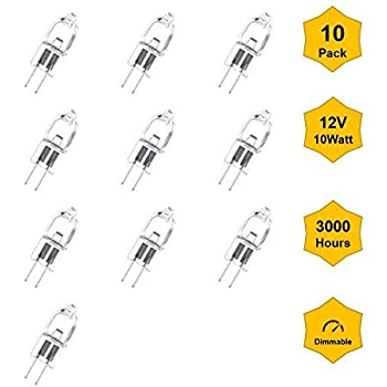10Pack G4-12V-10W JC Bi-Pin Base Halogen Bulb for Landscape, Puck Lights, Indoor & Outdoor Lights