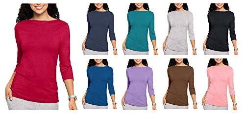 Blusa Top Tee 3/4 de algodón, colores claros para dama Rosso