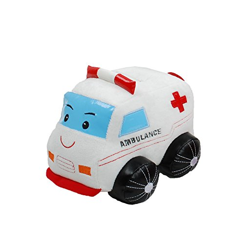 Linzy Plush Ambulance Coin Bank with Siren Sound, White 8