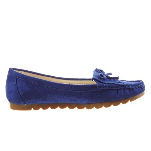 Sopily - damen Mode Schuhe Ballerina Franse Knoten - Blau