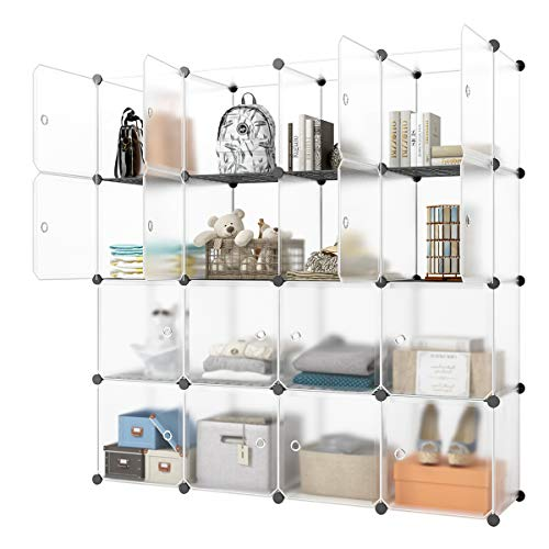 "KOUSI Cube Storage, Clothing Storage - Larger Cube (14""x14"") Storage -More Stable (add Metal Panel) Apartment Cube Organizer,Cube Shelves with Doors, Modular Book Shelf Organizer Units"