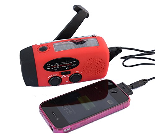 (TKSTAR Solar Radio Emergency Hand Crank Flashlight Dynamo Power Bank Phone Charger 3 LED AM/FM Mid-Band Weather Portable Radio with AUX Line-in Input (Red))