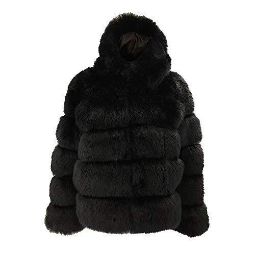URIBAKE Fashion Women's Mink Coats Hooded Winter Thick Warm Faux Fur Fluffy Solid Jacket Outerwear Parka