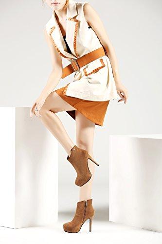 hexiajia Botas mujer marrón