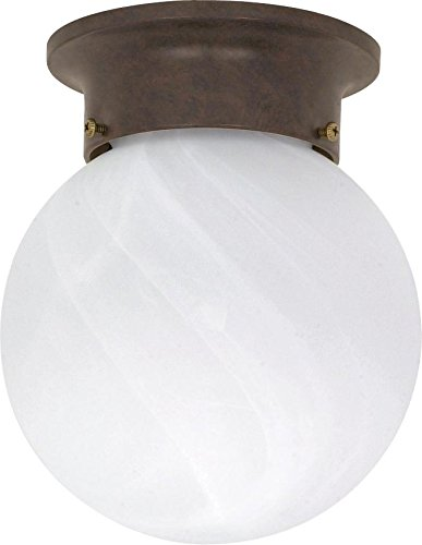 Ball Semi Flush - Nuvo 60/259 6-Inch Old Bronze Flush Ball with Alabaster Glass