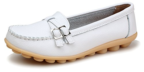 Kunsto Women's Leather Loafer Shoes Slip On US Size 9.5 White (Shoes Mary White Jane Nursing)